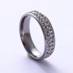Hot Sell Simple Temperament Double Row Zircon Stainless Steel Rings