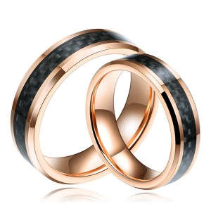 Mens Black And Gold Carbon Fiber Tungsten Ring Wedding Band Comfort Fit Beveled Edge