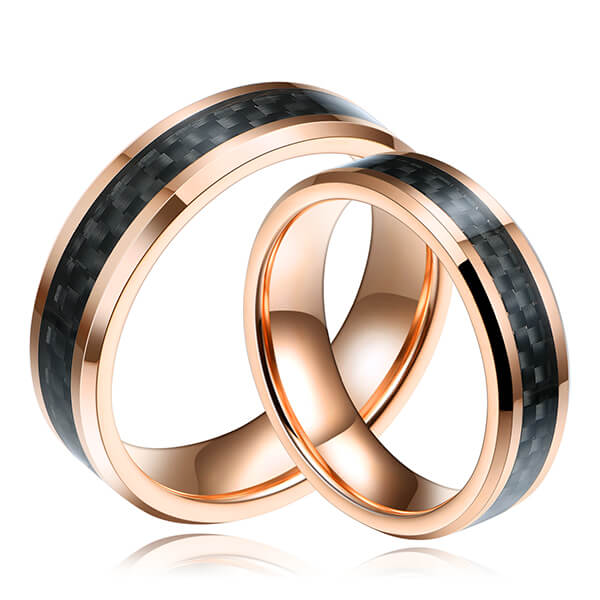 China Supplier Mens Wedding Bands Black And Rose Gold - Mens Black And Gold Carbon Fiber Tungsten Ring Wedding Band Comfort Fit Beveled Edge – Ouyuan