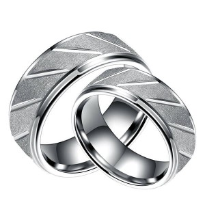 Tungsten Carbide Ring Diagonally Grooved Brushed Finish Silver Wedding Band for Men