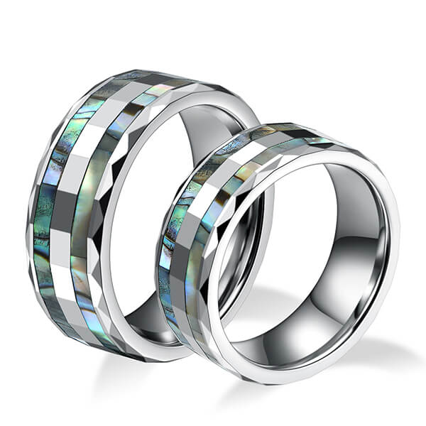 Trending Products Tungsten Or Zirconium Ring - Tungsten Abalone Shell Inlay Rings for Men Women Couples Opal Wedding Band – Ouyuan Featured Image