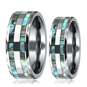 Tungsten Abalone Shell Inlay Rings for Men Women Couples Opal Wedding Band