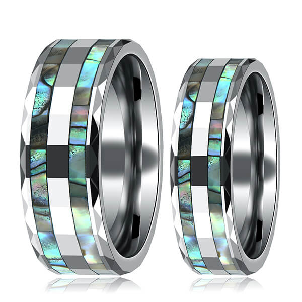 Trending Products Tungsten Or Zirconium Ring - Tungsten Abalone Shell Inlay Rings for Men Women Couples Opal Wedding Band – Ouyuan
