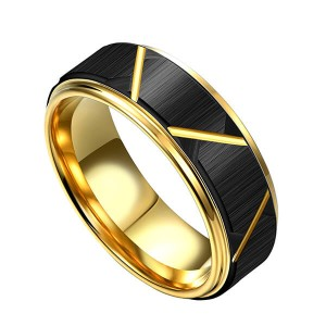 8mm customizable 18K gold plated black groove tungsten mens rings
