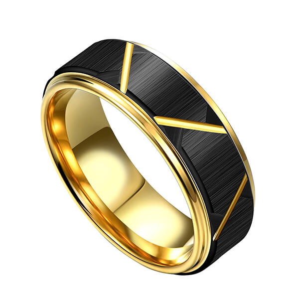 8mm customizable 18K gold plated black groove tungsten mens rings01-6