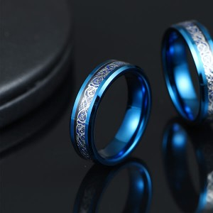 Unique Silver Celtic Dragons With Blue Background Tungsten Steel Inlay Rings