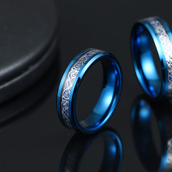 Factory directly Tungsten Rings London Ontario - Unique Silver Celtic Dragons With Blue Background Tungsten Steel Inlay Rings – Ouyuan