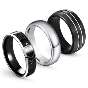 Discount Combination 3pcs/set Classic Tungsten Steel Ring Black Matte