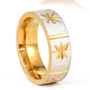 New Design Matte and High Polish Gold Jewelry Batch Flower Ring