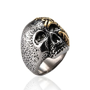 Stainless Steel Rings for Men Women Black Skull Head Rings