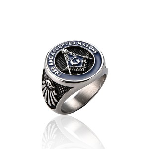 Jewelers Stainless Steel Blue Tone Vintage Freemason Masonic Rings