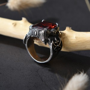 Mens Square Red Garnet Ruby Stainless Steel Solitaire Wedding Band Rings Jewelry