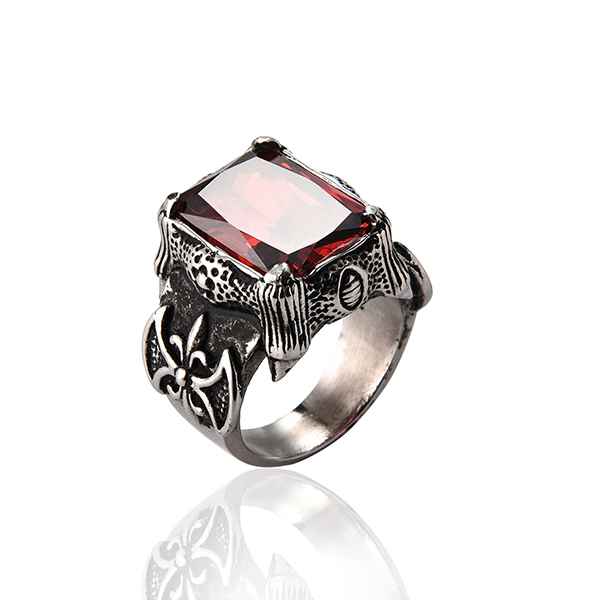Mens Square Red Garnet Ruby Stainless Steel Solitaire Wedding Band Rings Jewelry Featured Image
