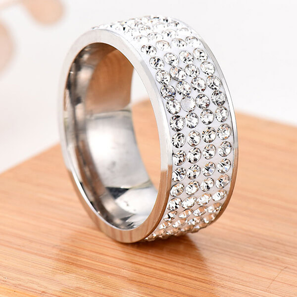 Popular Design for Tungsten Carbide Rings Engraving - Shiny Full Diamond Ring Cubic Zirconia Rings CZ Diamond Multi Row Ring – Ouyuan