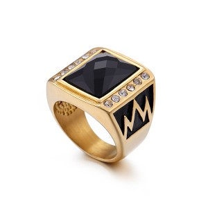 Trendy Fashion Retro Plating Gold Silver Inlaid Zircon Stainless Steel Ring