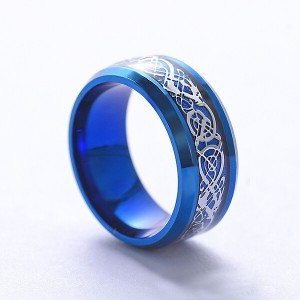 Custom Men's 6MM 8MM Stainless Steel Celtic Dragon Rings