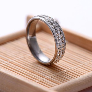 New Double Beveled Four-Color Frosted Stainless Steel Couple Ring