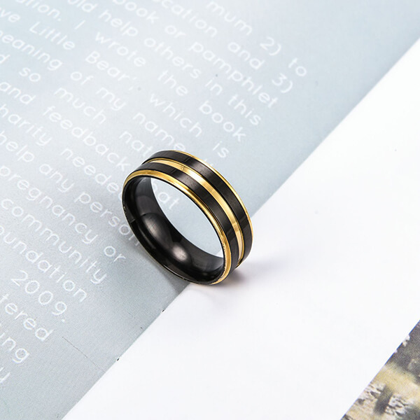 8MM Brushed Matte Stainless Steel Ring Gold Thin Groove Comfort Fit Wedding Band for Men Featured Image