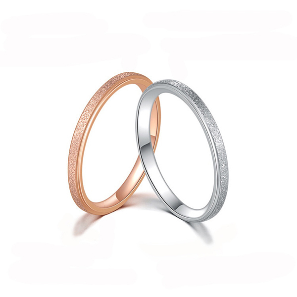 2020 Good Quality Tungsten Ring One Pair Silver - Fine Frosted Simple Stainless Steel Tail Ring for Wedding Party Couple – Ouyuan