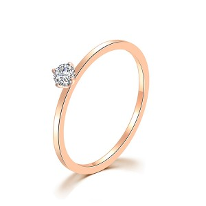 Single Diamond Tail Ring Rose Gold Six Prong Diamond Ring Titanium Steel Ring