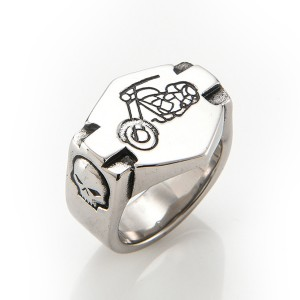 Mens Rings Round Vintage Stainless Steel Ring for Biker