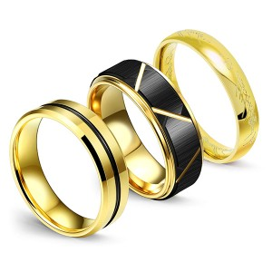 Men's Wedding Bands Black Matte Black Grooved Center and Advanced Lord of the Rings