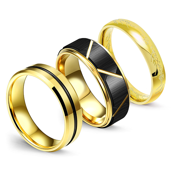 PriceList for Tungsten Black Mens Ring - Men's Wedding Bands Black Matte Black Grooved Center and Advanced Lord of the Rings – Ouyuan