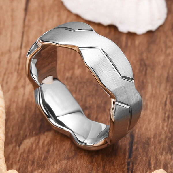 Online Exporter Tungsten Ring Removal - 8mm Mens Black/Silver Tungsten Carbide Ring Brushed Infinity Knot Pattern Wedding Band High Polished – Ouyuan