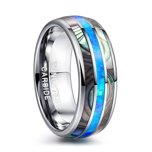 Men's 8mm Opal and Abalone Shell Tungsten Carbide Engagement Ring