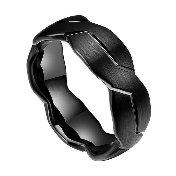 Online Exporter Tungsten Ring Removal - 8mm Mens Black/Silver Tungsten Carbide Ring Brushed Infinity Knot Pattern Wedding Band High Polished – Ouyuan Featured Image
