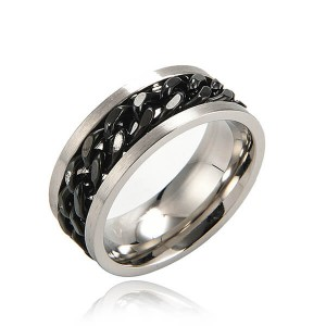 8MM Stainless Steel Rings for Men Engagement Wedding Band Chain Ring