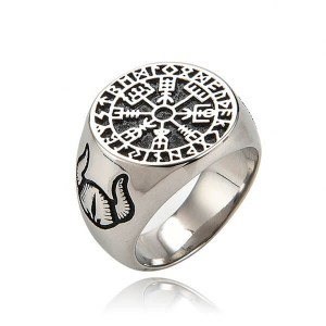 Factory Direct Sale Blank Awe Rune Amulet Ring Stainless Steel rings