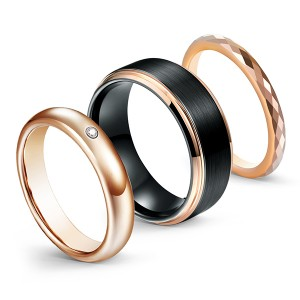 Black with Rose Gold Brushed Multi-Faceted High Polish Tungsten Steel Rings for Men
