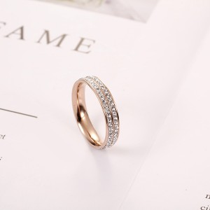 Good Quality Opal Mens Ring - 18k Rose Gold Double Row Full Diamond Korean Fashion Ring Women – Ouyuan