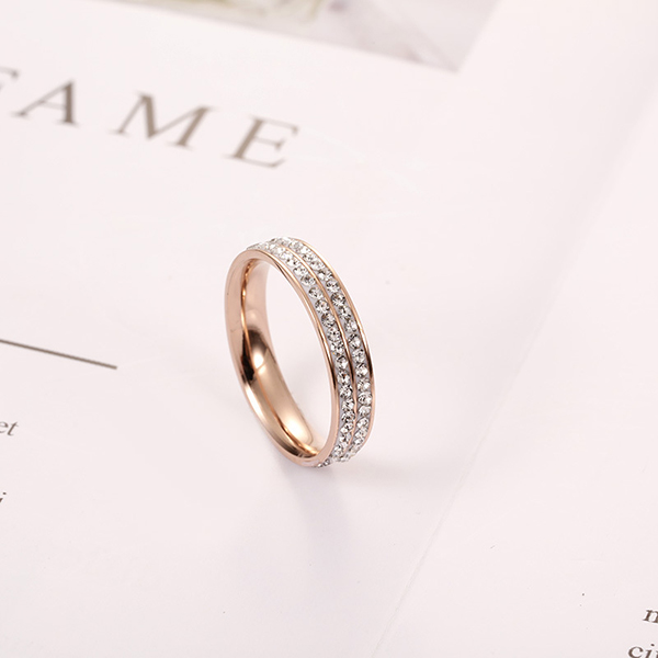 Good Quality Opal Mens Ring - 18k Rose Gold Double Row Full Diamond Korean Fashion Ring Women – Ouyuan Featured Image