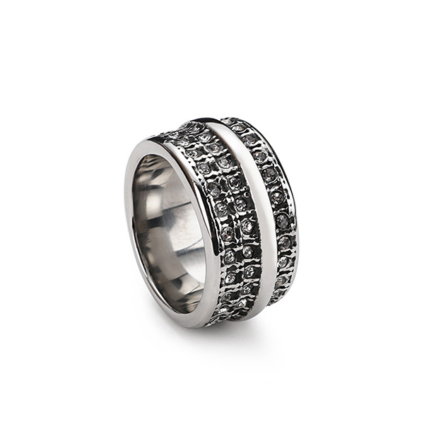 Vintage Titanium Stainless Steel Ruby Carved Men's Ring for Sales Featured Image