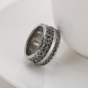Vintage Titanium Stainless Steel Ruby Carved Men's Ring for Sales
