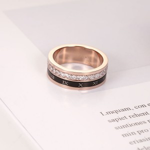 The New Rose Gold Roman Numeral Single Diamond Rings for Women