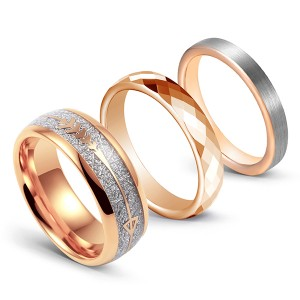 Rose gold ring combination imitation meteorite inlaid multi-faceted brushed tungsten steel ring
