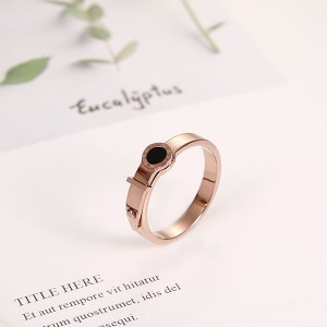 Special Design Lock Roman Numeral Black Shell Ring for Party Women