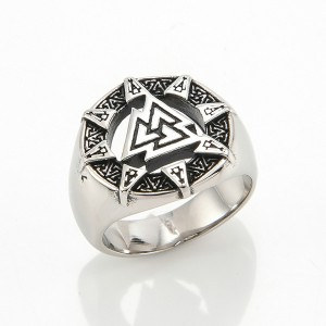 Finger Rings Pyramid Triangle Solid Old Style Amulet Retro Ancient Symbol Rings