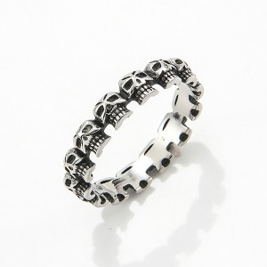 Punk Mini Skulls Around Band Stainless Steel Gothic Skull Biker Ring