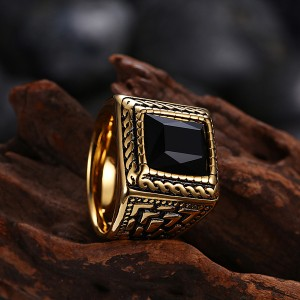 Vintage Style Jewelry Geometric Pattern Carved Stainless Steel Ring