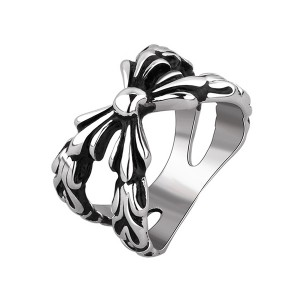 Geometric Pattern Bowknot Punk Ring Stainless Steel Jewelry