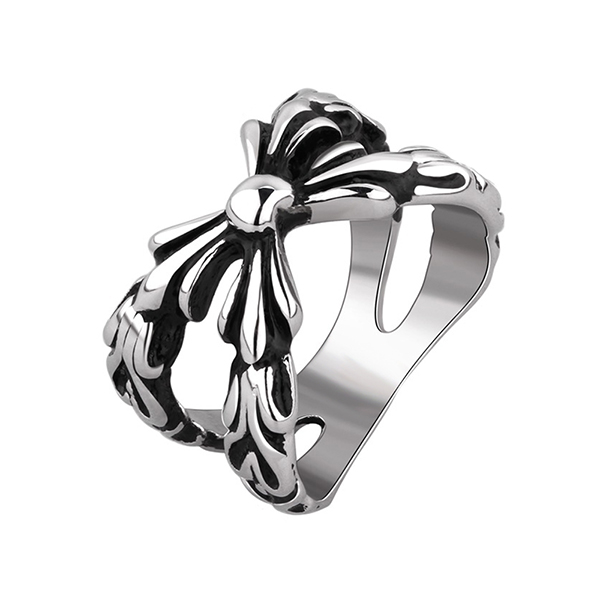 Geometric Pattern Bowknot Punk Ring Stainless Steel Jewelry Featured Image
