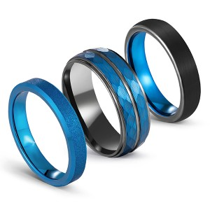 Blue Series Multi-Faceted Frosted Brushed Tungsten Steel Ring for Men