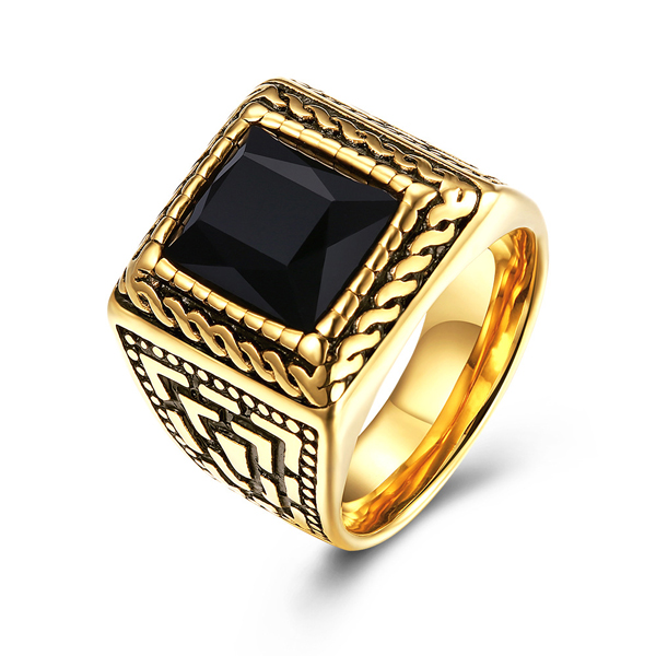 Vintage Style Jewelry Geometric Pattern Carved Stainless Steel Ring Featured Image