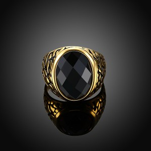 Vintage Style Round Gold-Plated Red and Black Gemstone Ring