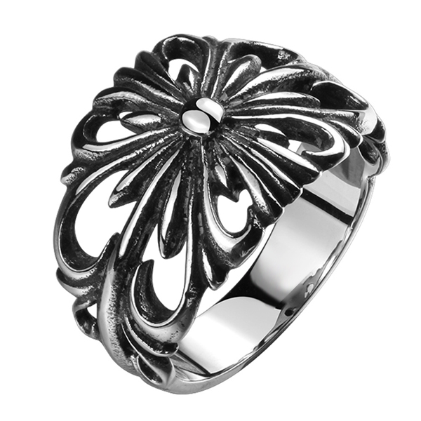 Retro Style Carved Pattern Geometric Personality Ring for Unisex Featured Image