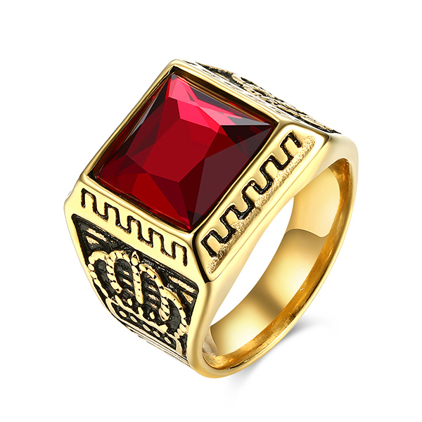 Hot Selling Wholesale Personality Crown Black Zircon Men's Ring Featured Image